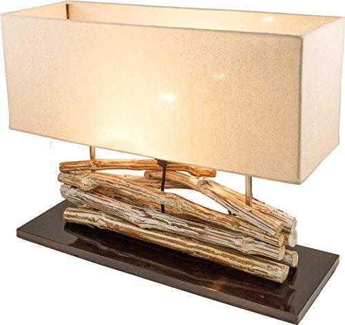 Guru-Shop Lampe de Table / Lampe de Table Matadi, Fait à la Main à Bali Matériau Naturel Unique, Bois Flotté, Coton - Modèle Matadi, Boisdedérive, 42x50x18 cm