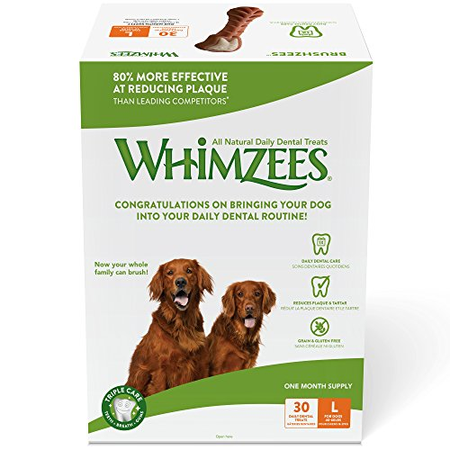 Whimzees Natural Daily Dental Long Lasting Dog Treats One Month Supply, Brushzees, Large, Box of 30