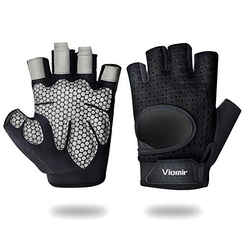 Viomir Ultralight Workout Gloves for Men & Women, Padded Weight Lifting Gloves with Wrist Wrap Support, Anti-Slip Gym Gloves for Powerlifting, Fitness, Crossfit, Pull ups