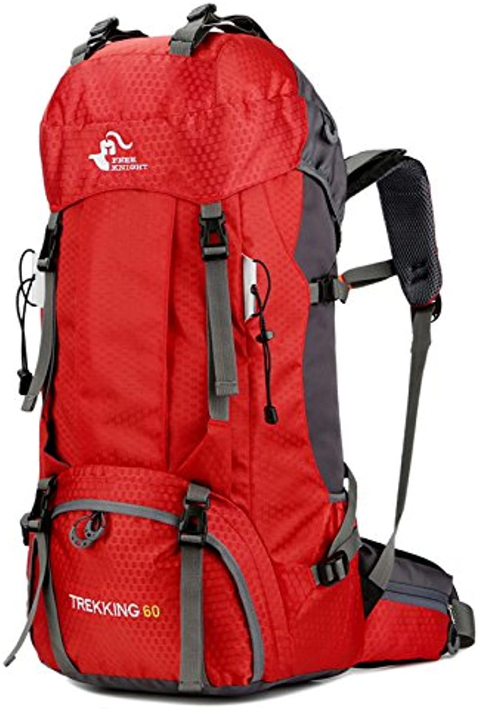 60l Outdoor Rucksack Campingtasche mit Regenabdeckung wasserdichte Bergsteigen Wanderruckscke Sporttasche Kletterrucksack 68x33x20cm rot