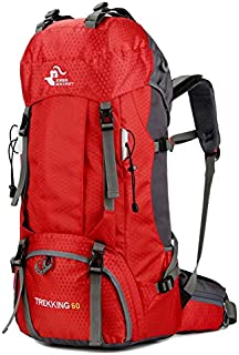 60L Outdoor Mountaineering Bag Large Capacity Waterproof Fashion Foldable Backpack for Hiking Camping Fishing Traveling (Red)