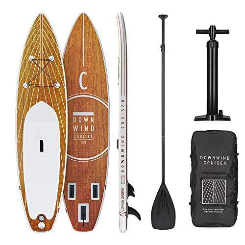 Capital Sports Downwind Cruiser - Set de paddle surf, Hasta 95 kg, Material PVC, Superficie espuma, Cuerdas elásticas, Kit reparación, Inflador alta presión, Mochila, 305 x 77 x 15 cm, Naranja