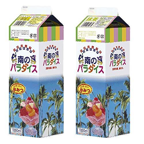 天然着色料のかき氷シロップ1L×12本セット 日向夏6本+ 抹茶6本(果汁入り・保存料不使用) 業務用