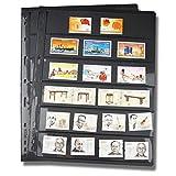 HAIMEN Páginas de Sellos de coleccionista de PVC - 10 unids/Lote, Color Negro, no Incluye Tapas Interiores, páginas de Sellos de Hojas Sueltas de Doble Cara para Postales, Fotos, Monedas, Tarjetas