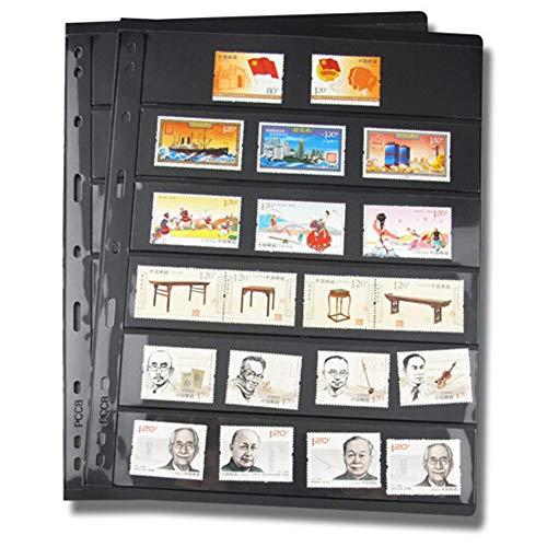 Yiran Briefmarken-Seiten 10 Stück / Packung lose PVC-Folie Standard nicht enthalten Einband 9 Ordner für Löcher Ordner Kollektion Inners Album Gitter auf beiden Seiten (F)