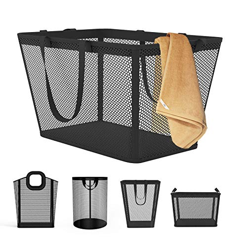 NPET Large Laundry Hamper Basket(Multi-Style), Protable Plastic Clothes Bag with EVA Waterproof & Breathable Mesh Material, Storage Bins for Laundry, Bathroom, Bedroom and Dormitory(Black)