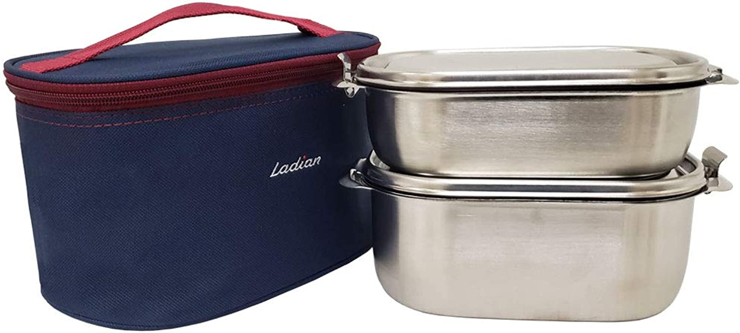 The Elixir Bento Lunch Box Food Container Storage Set, Leak Proof Stainless Steel for Kids Adults Outdoor Meals, BPA Free, Bonus Pods Inssert