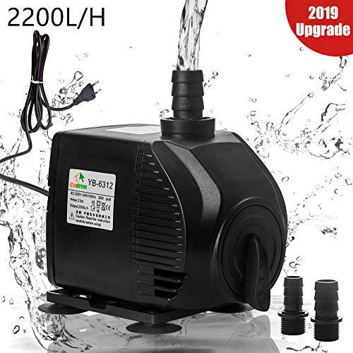 Cadrim 25Watt 2200L/H Aquarium Pumpe Wasserpumpe Tauchpumpe Förderpumpe Aquariumpumpe Schwarz (2200L/H)
