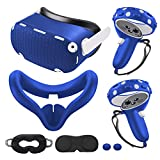 for Oculus Quest 2 Accessories, Quest 2 VR Silicone face Cover, VR Shell Cover,Quest 2 Touch Controller Grip Cover,Protective Lens Cover,Disposable Eye Cover