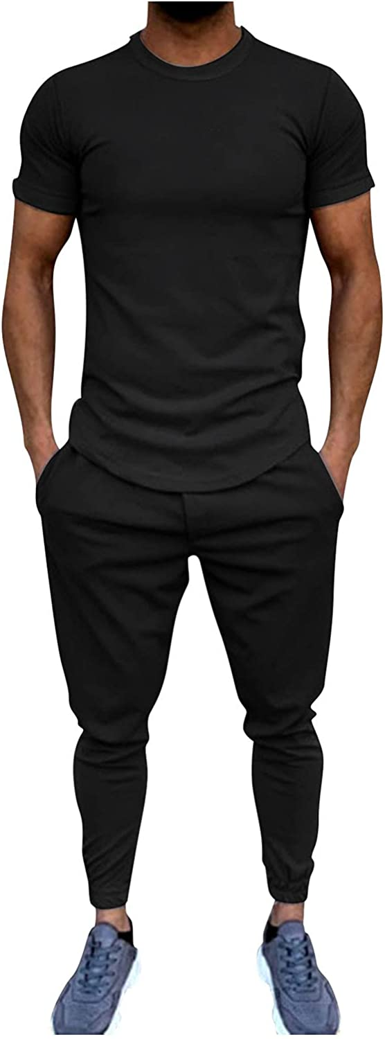 FUNEY Men's 2 PC Pajama Set with Short Sleeve Shirt and Long Pants,Crewneck Muscle T-Shirt and Cargo Pants Tracksuit Outfits