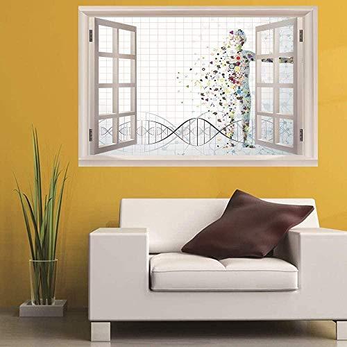 Wandaufkleber,Wandsticker DNA 3D Fake Window PVC selbstklebende Wandaufkleber Schlafzimmer Wohnzimmer Studie Hintergrund Dekoration (50X70cm)