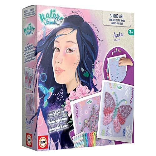 Educa- Nature Friends Manualidades. String Art Asuka. Incluye 5 Cuadros para Decorar, 5 Hojas de Papel Impreso, 6 Colores de Hilo, 1000 Soportes de plástico y Cinta. A Partir de 7 años. (18942)