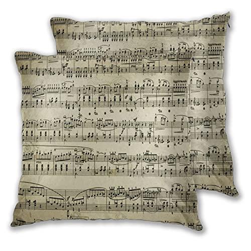 BROWCIN 2 Pack Funda de Almohada Página de partituras Musicales Lino Suave Cuadrado Sofá Cama Decoración Hogar para Cojín 45cm x 45cm
