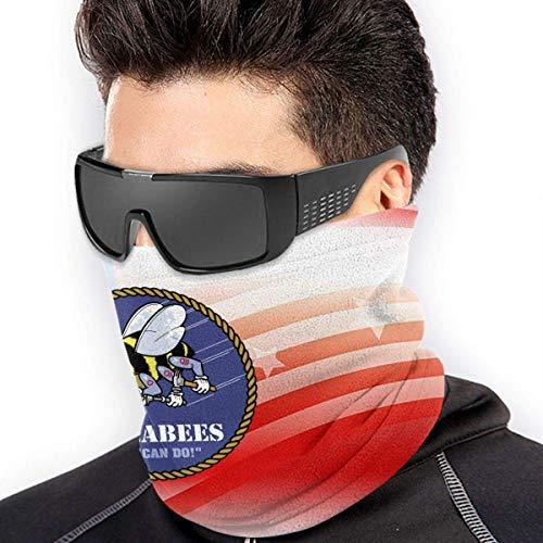 Nother Bufanda de microfibra para cuello con bandera cruzada de Estados Unidos y Seabee, resistente al viento, a prueba de polvo, protección para exteriores, color negro