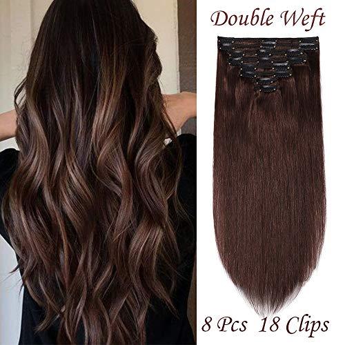 (25-60cm) Extension Clip Capelli Veri #4 Marrone cioccolato Double Weft 8 Fasce 110g Capelli Umani 100% Remy Human Hair 25cm