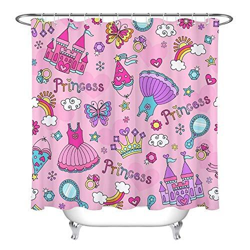 XZLWW Roze prinses jurk ijs gem kroon regenboog douchegordijn waterdichte badkamer gordijn stof voor kinderen bad decoratie