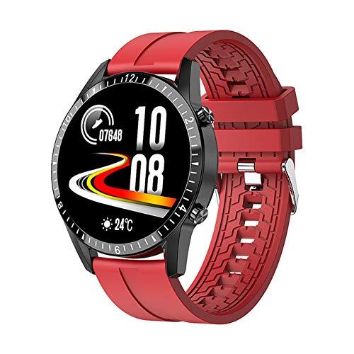 YNLRY Reloj inteligente I9 con pantalla táctil Bluetooth manos libres Smartwatch hombres mujeres fitness Tracker ritmo cardíaco mensaje de llamada banda de música (color: rojo)