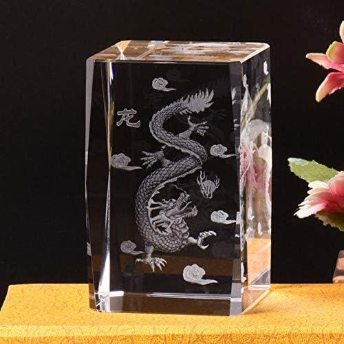 NOBRAND Cristal Moderno 3D láser Gigante Panda artesanía estatuilla Vidrio láser dragón Regalos decoración del hogar Estilo 2