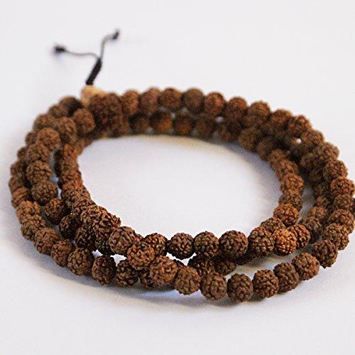 Third World Traid Rudraksha Seeds - 108 cuentas de Mala para orar y meditar | Collar pulsera | Rosario de madera para orar | Hecho en Nepal