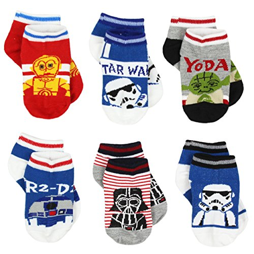 Toddler Boys Star Wars Classic Character 6 Pack Socks, Size 2-4