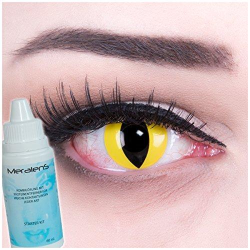 Farbige gelbe Katzenaugen Kontaktlinsen ohne Stärke crazy Kontaktlinsen crazy contact lenses Cat Eye gelb Katzenaugen1 Paar. Mit Linsenbehälter + 60ml Pflegemittel