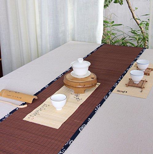 Qiao jin tafelkleden bamboe tafelloper, retro nationale stijl prints bamboe matten tafelmat thee lade accessoires tafelkleed