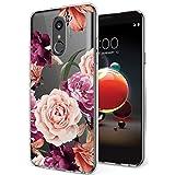 LG Stylo 4 Hülle, LG Q Stylus Case, LG Stylus 4 Hülle mit Blumen, Ueokeird Dünn, stoßfest, durchsichtiges Blumenmuster, weiche, Flexible TPU Rückseite für LG Stylo 4, Violette Blume