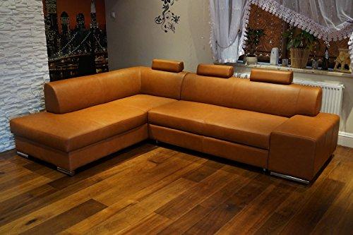 Quattro Meble Cognac Kleur echt leer Hoekbank London II 3z 275 x 200 Sofa Bank met bedfunctie, bedlade en hoofdsteunen Bruin glad echt leer Venice Cognac Eck Cognac Hoekbank Grote keuze aan kleuren