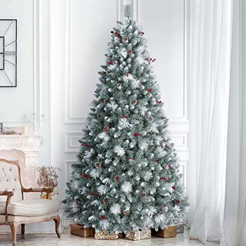 7.5ft Pre-Lit Christmas Tree, ANOTHERME 650 Warm Lights UL Certified, Pinecones &Berries Hinged Artificial Trees Flocked Holiday Decor - Blue/Green/White