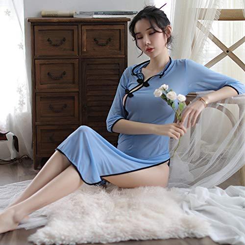 Amyove Mujer Sexy Porno Chino Cheongsam Uniformes Disfraces Exóticos Juego Sexual Cosplay Lencería Sexy Ropa Exótica Vestido Sexual Cheongsam Largo Azul + Bragas