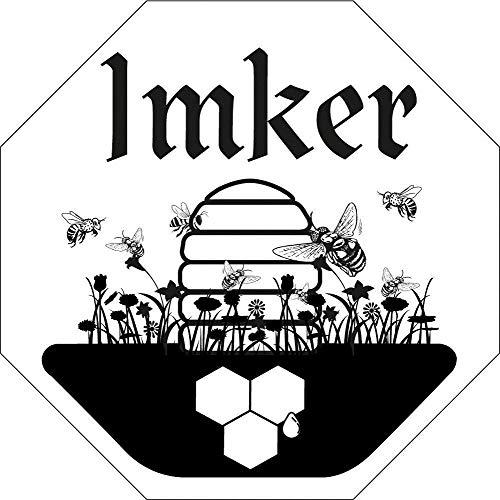 Auto-Aufkleber - IMKER - Gr. ca. 9cm x 9cm - 307160-2 - Bienenstock Bienen Honig Bee