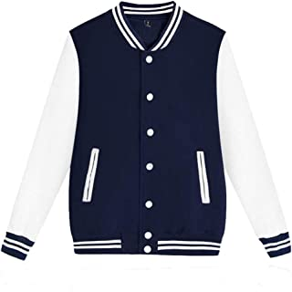 Men's Slim Fit Varsity Baseball Jacket Bomber Autumn Fashion Casual Stand Collar Sweater Outwear
