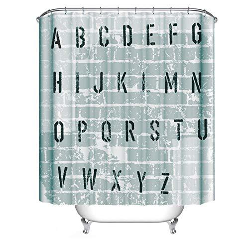 Digitaldruck Shower Curtains aus Stoff lang groß größe größen wasserdichter Stoff ueberlaenge breiter duschvorhaenge Textil lang extra überlänge hängen Vorhang (ABC, höhe:220cm;breite:180cm)
