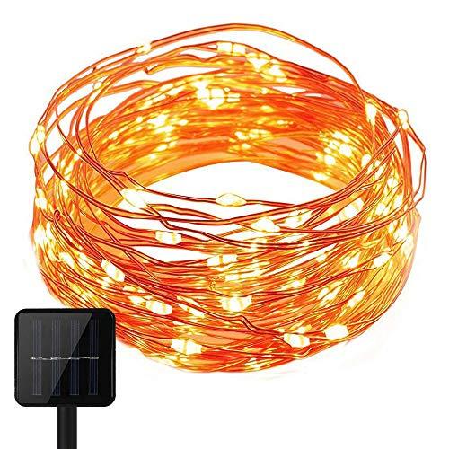 KEEDA Guirlande Lumineuses Solaire,100LED 8 Mode Cuivre Corde Lumineuse, Décoration Lumières Solaire,Luminaire Extérieur, Eclairage Solaires,Lumières Chaines (Blanc Chaud)