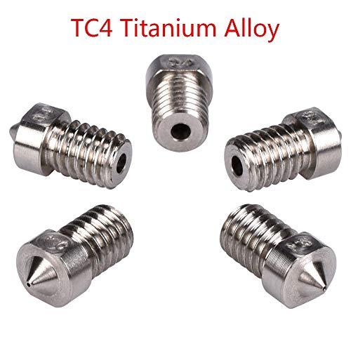 YIJIABINGRU TC4 Titanium Alloy Nozzle 3D V5 V6 Nozzle for RepRap J-head Hotend Bowden Extruder 3D Printer Parts 1.75MM Filament 0.3-1.0MM Nozzle (Size : 1.75 1.0MM Nozzle)