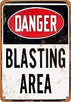 危険発破エリア壁金属ポスターレトロプラーク警告ブリキサインヴィンテージ鉄絵画装飾オフィスの寝室のリビングルームクラブのための面白いハンギングクラフト