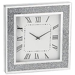 Narsi UK Modern Sparkly Diamond Crush Crystal Mirror Glass Square Wall Clock 40 cm Silver