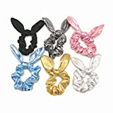 PNEIFON 6 Pack Hair Scrunchies Rabbit Bunny Ear Bow Bowknot Scrunchie...
