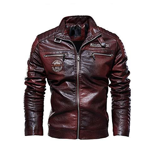 first123 Giacca in pelle da uomo in velluto con colletto alla coreana vintage 2019 Nuova giacca con cerniera per motocicletta moderna in difficoltà