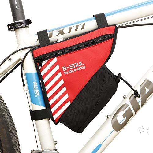 FülleMore Fahrradtasche Fahrrad Dreiecktasche mit Reflektierend Streifen Mountainbike Rennrad Wasserdicht Oberrohrtasche Rahmentasche mit Flaschenhalter 20.5x18x5cm (Rot)