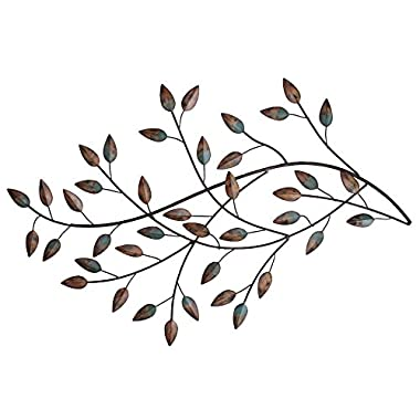 Stratton SHD0119 Home Blowing Leaves Wall Decor, Green, Brown and Hint of Gold