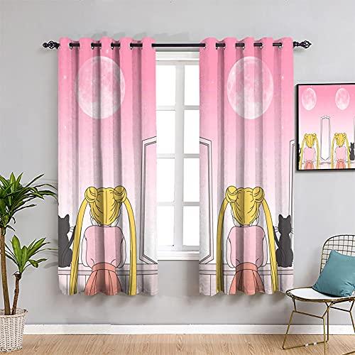 Trelemek Impresión 3D lindo gato de dibujos animados encantador rosa cortina de interior decoración del hogar ventana Drape Sailor Moon Modern Blackout cortinas W63 x L72