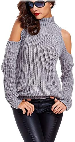 Choies Women s Gray High Neck Cold Shoulder Long Sleeve Sweater Pullover L product image