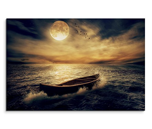 Paul Sinus Art 120x80cm Leinwandbild auf Keilrahmen Ozean Holzboot Wolken Nacht Mond Wandbild auf Leinwand als Panorama