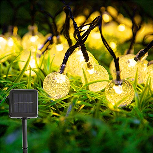 Solar Garden String Lights Outdoor- Vindany 60 LED Decorative Fairy Lights String Light Solar Crystal Globe Waterproof Party Lights for Patio Yard Home Wedding Festival Decoration