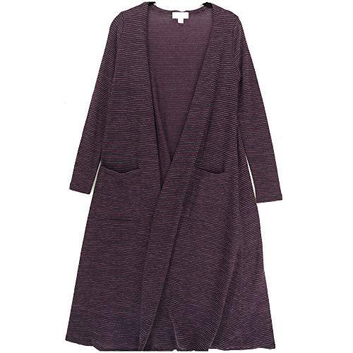 Lularoe Sarah X-Small XS Ribbed Stripe Purple Black Cardigan fits Womens Sizes 0-4