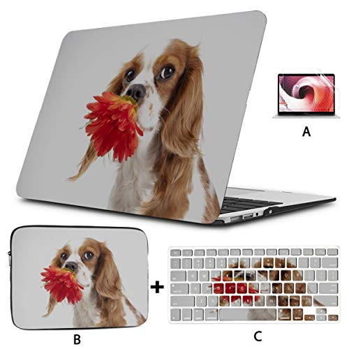 MacBook Air Protective Cover Valentine Dog with A Red Rose Mac Book Air Cover Hard Shell Mac Air 11'/13' Pro 13'/15'/16' with Notebook Sleeve Bag for MacBook 2008-2020 Version