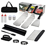 Professional Griddle Accessories Kit 14Pcs Premium Stainless Steel BBQ Grill Tools with Spatula, Scraper, Bottle, Grill brush, Egg Ring, Perfect Grilling Utensils for Outdoor Camping and Cooking