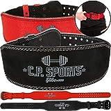 C.P. Sports Gewichthebergürtel Komfort - extra breit - schwarz und rot Kraftsport, Bodybuilding,...