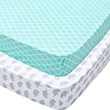 Baby Travel Cot Sheets, 2 Pack M...